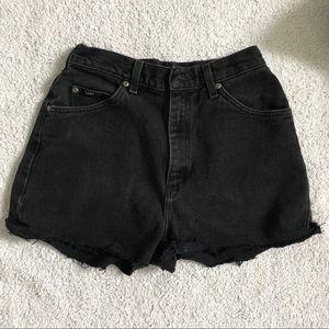 Vintage Lee Black Denim Shorts (Medium)